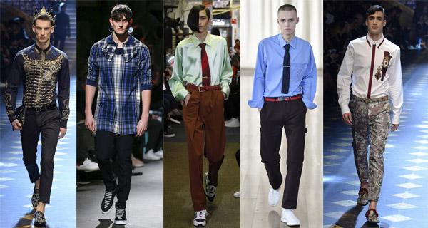 0fb064fcdc9ffe3 Модные кутюрье пошли дальше, и предлагают мужские рубашки сорочки, где  полоски наложены друг на друга, имеют частичную деталировку, или находятся  в ...